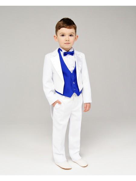Костюм ошатний для хлопчика Фрак біло-синій