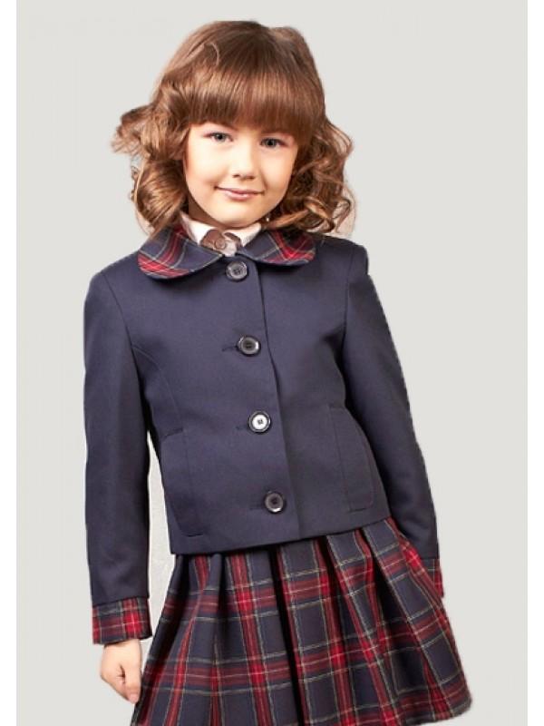 Жакет для дівчинки шкільний синій з клітинкою (напіввовна)