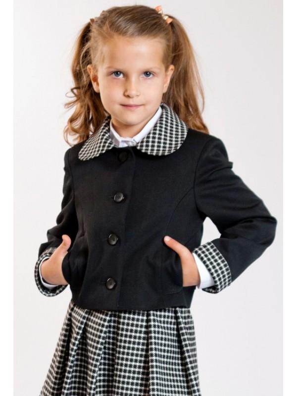Жакет шкільний чорний з кліткою