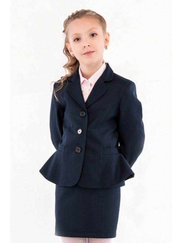 Жакет шкільний синій з боків з басками напіввовна