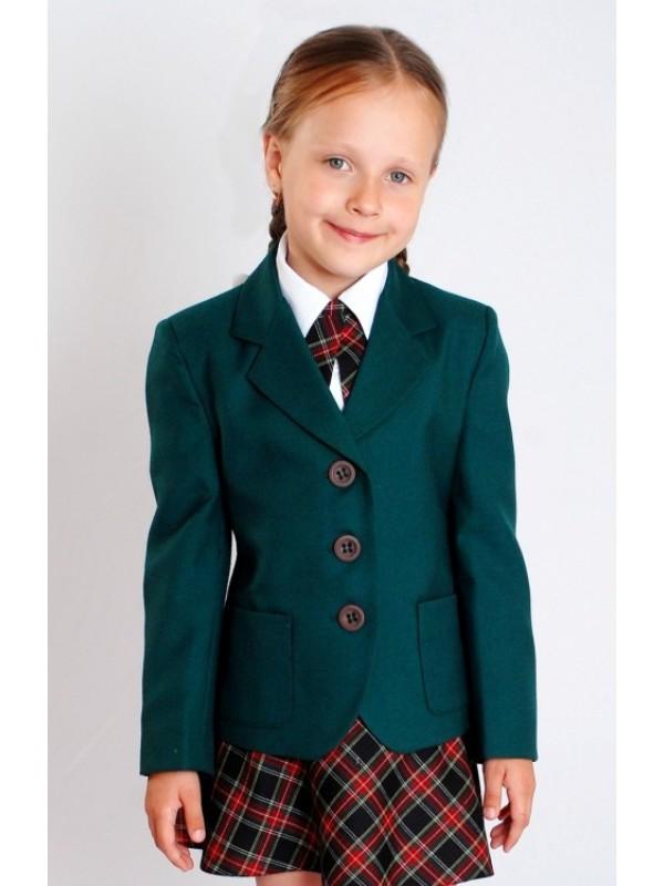 Жакет шкільний зелений напіввовна