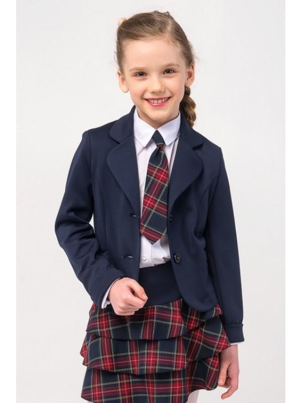 Жакет для дівчинки шкільний синій (трикотажний)
