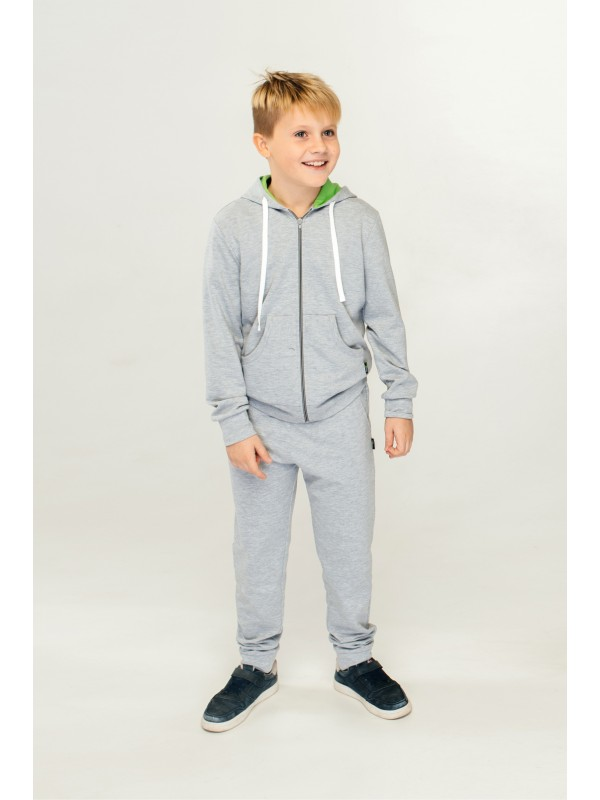 Спортивний костюм для хлопчика світло-сірий з салатовим