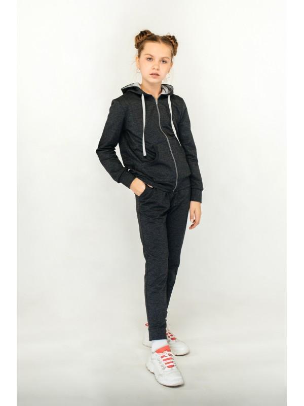 Спортивний костюм для дівчинки темно-сірий
