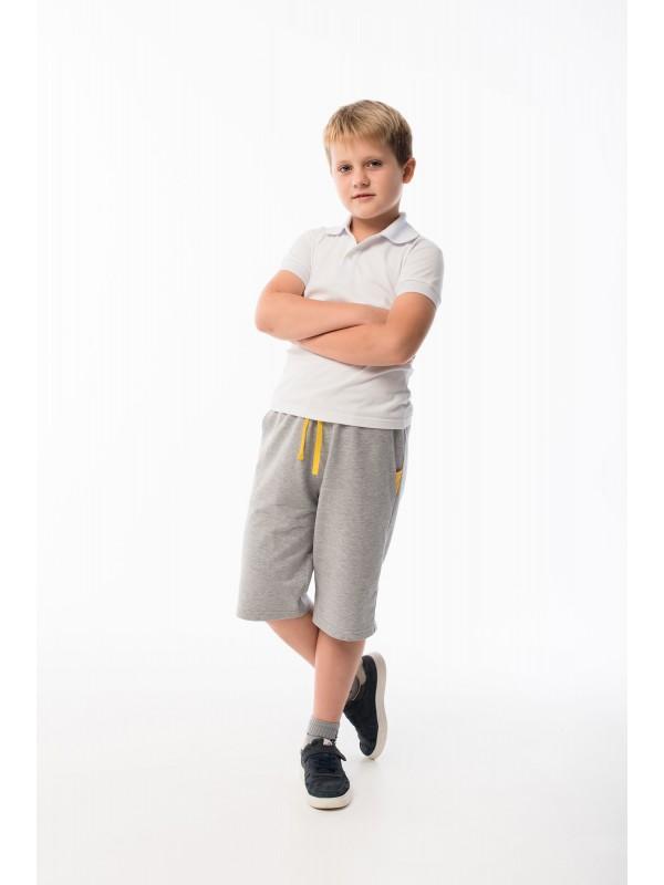 Шорти трикотажні для хлопчика світло-сірий меланж з жовтим