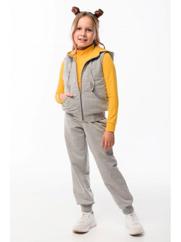 Спортивний костюм трійка для дівчинки світло-сірий з жовтим