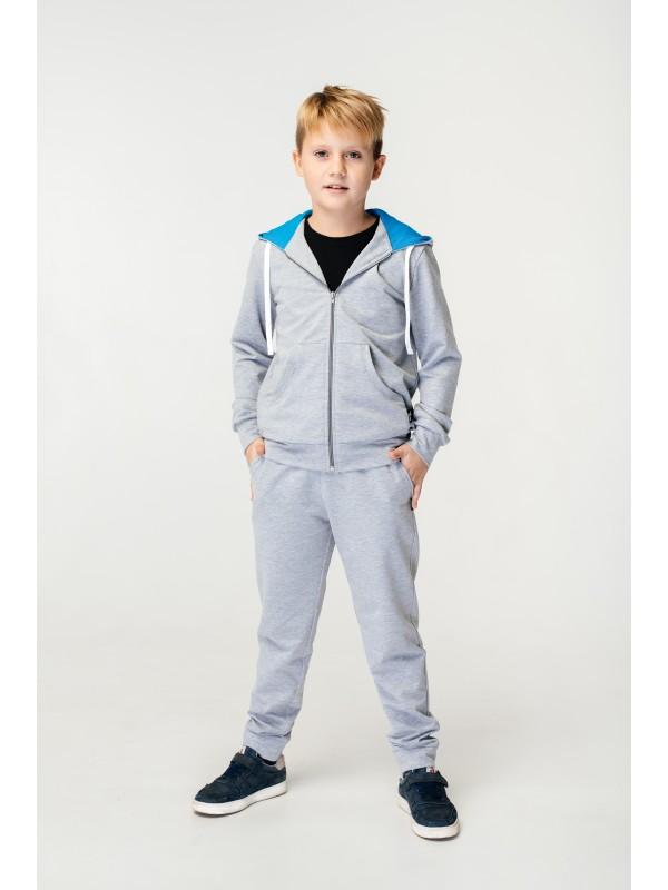 Спортивний костюм для хлопчика світло-сірий з блакитним
