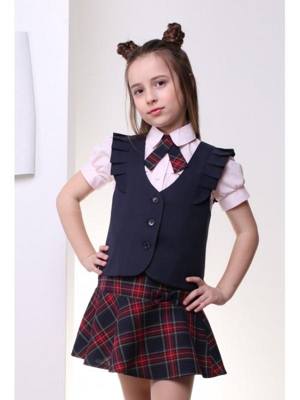 Жилет шкільний для дівчинки синій (рюшки, напіввовна)