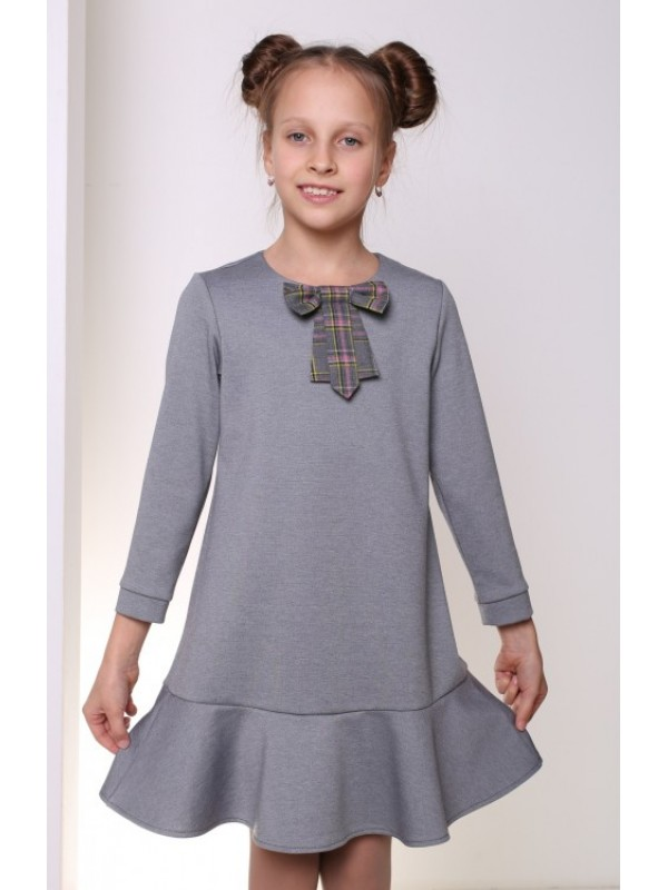 Плаття для дівчинки шкільне трикотажне сіре