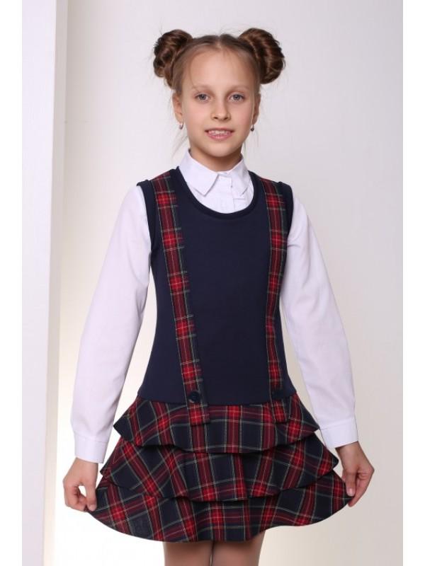 Сарафан для дівчинки шкільний трикотажний синій з клітинкою