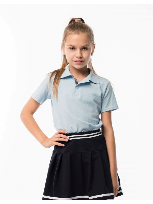 Поло для дівчинки блакитне