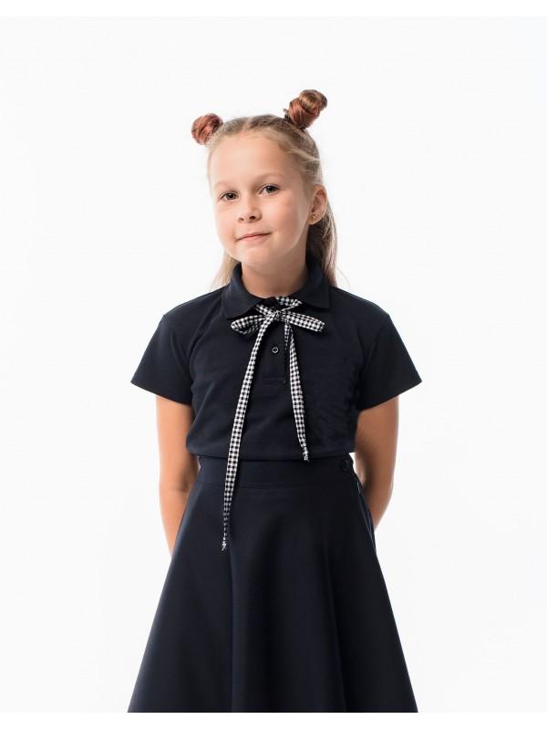 Поло для дівчинки темно-синє