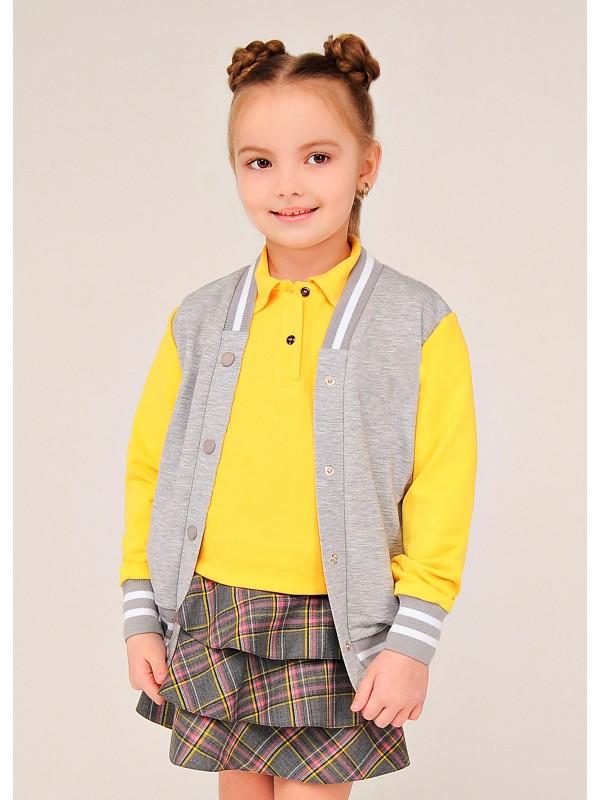 Бомбер шкільний для дівчинки сіро-жовтий утеплений