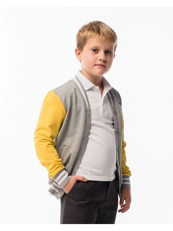 Бомбер шкільний для хлопчика сіро-жовтий